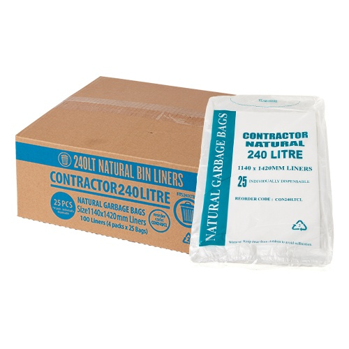 Austar Packaging 240L Contractor Clear Garbage Bags 100/ctn